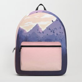 Evening Mountains illustration. Peach. Black. Birds in forest. Sky clouds. Backpack
