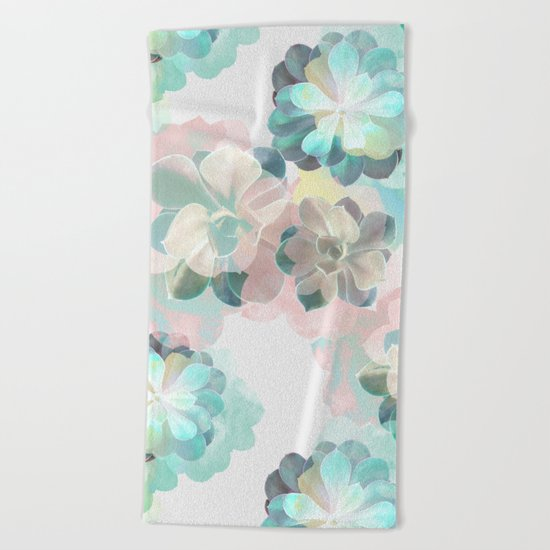 Succulent Pattern Beach Towel