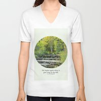 fitzgerald V-neck T-shirts featuring fall leaves + f scott fitzgerald by lissalaine