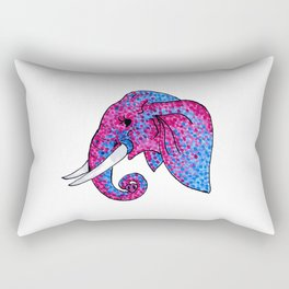 'Remember the Spots' Pink and Blue Spotted Elephant Rectangular Pillow