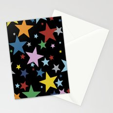 Multi Stars Black Stationery Cards