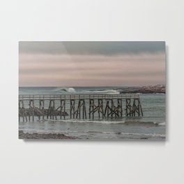 Waves at the Pier at sunset Metal Print