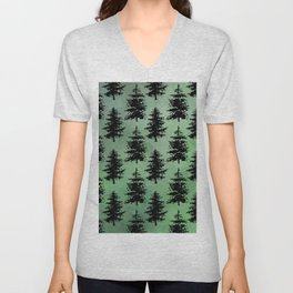 Hand painted watercolor green black winter pine trees Unisex V-Neck