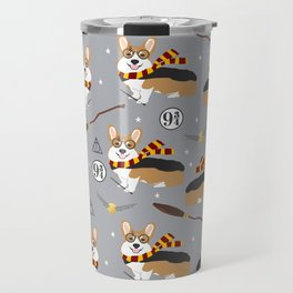 corgi wizard welsh corgis potter wizarding school pattern Travel Mug