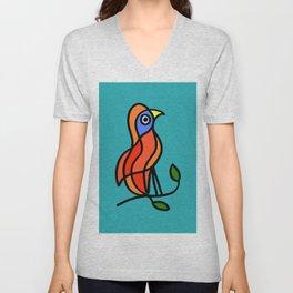 Color Bird on a Twig on Blue Unisex V-Neck