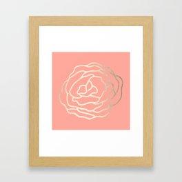 Flower in White Gold Sands on Salmon Pink Framed Art Print