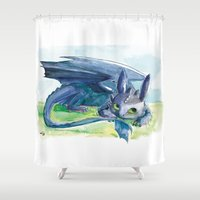 how to train your dragon Shower Curtains featuring How to Train Your Dragon - Toothless by PinStripes Studios