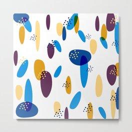 Bohemian blue and yellow pattern colorful drops cozy art Metal Print