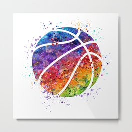 Basketball Ball Colorful Watercolor Sports Art Metal Print