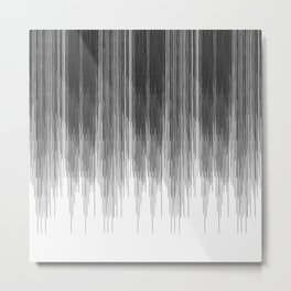 Black and Grey Paint Drips on White Metal Print