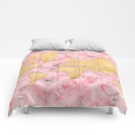 Gold and pink marble world map Comforters