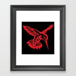 Hummingbird Red on black Framed Art Print