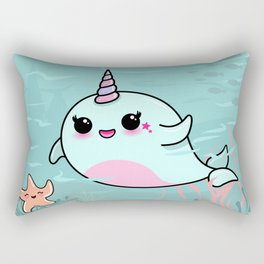 Cute Narwhal and Starfish Rectangular Pillow
