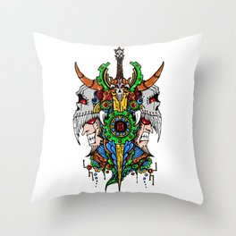 Gemini Skull Zodiac Sign For May and June Birth Day Gift Throw Pillow