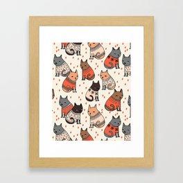 Sweater Cats - by Andrea Lauren Framed Art Print
