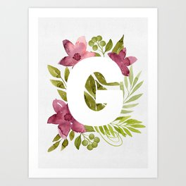 Monogram G with red waercolor flowers and green leaves. Floral letter G. Botanical illustration. Art Print