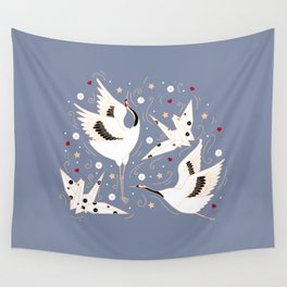 Origami Crane Metamorphosis (Blue) Wall Tapestry