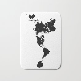 Dymaxion World Map (Fuller Projection Map) - Minimalist Black on White Bath Mat