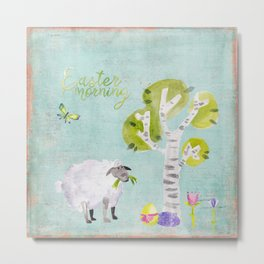 Easter Morning- Animal Sheep - for children Metal Print