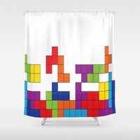 tetris Shower Curtains featuring Tetris by Jennifer Agu