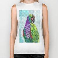 parrot Biker Tanks featuring Parrot  by Suburban Bird Designs