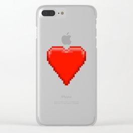 Retro Video Game Heart Pixel Art Clear iPhone Case