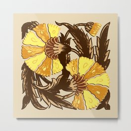 William Morris Jacobean, Mustard Gold and Brown Metal Print