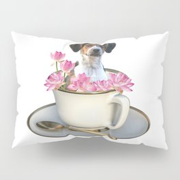 Coffee Cup - Jack Russell  Dog - Lotos Flowers Pillow Sham