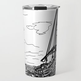 boats on the sea . Home Decor Graphicdesign Travel Mug