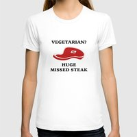 vegetarian T-shirts featuring Vegetarian? Huge Missed Steak by AmazingVision