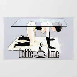 Coffe Time! In dirty BDSM style, funny erotic, kinky cartoon coffee banner Rug