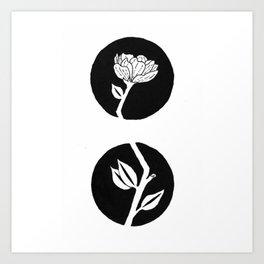 Camellia Flower Stem Growing Through Black Circles Design Art Print