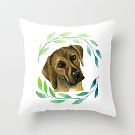 Rhodesian Ridgeback with a Wreath Watercolor Painting Throw Pillow