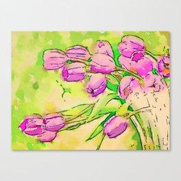 Retro Bright Spring Tulips  Canvas Print