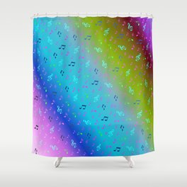 colorful blue music notes abstract, art, artistic, background, bass, beautiful, classical, clef, cre Shower Curtain