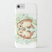 otters iPhone & iPod Cases featuring Otters Holding Hands by Georgia Dunn