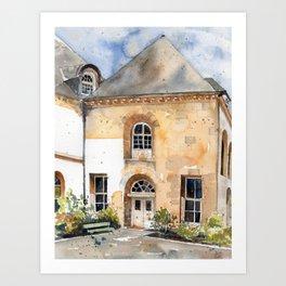 Watercolor Courtyard Building in Paris, France Art Print
