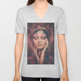 Young woman muse with creative body art and hairdo (1) Unisex V-Neck