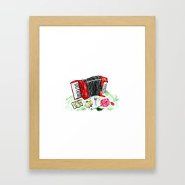 Retro red accordion Framed Art Print