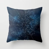 map Throw Pillows featuring Celestial Map by Rose's Creation