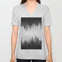 Black and white foggy mirrored forest Unisex V-Neck