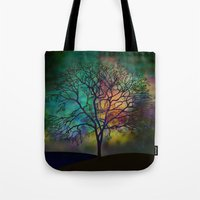 karu kara Tote Bags featuring Celestial Phenomenon by Klara Acel