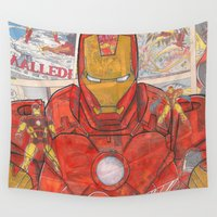 ironman Wall Tapestries featuring Vintage Comic Ironman by Dave Seedhouse.com