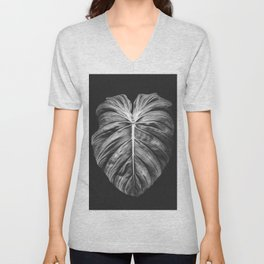 Monstera Deliciosa Black and White Unisex V-Neck