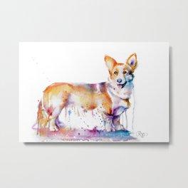 Corgi watercolor Metal Print