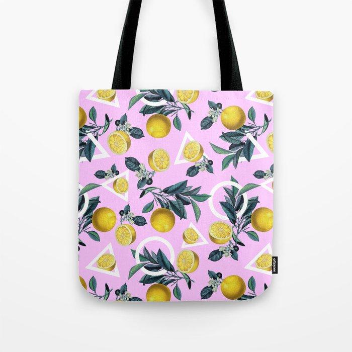 Geometric and Lemon pattern Tote Bag