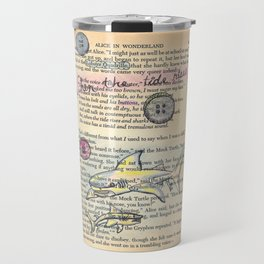 Alice in Wonderland antique book page with Sharks etc drawn on  Lobster Quadrille  Travel Mug