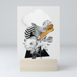 collage art (girl) Mini Art Print