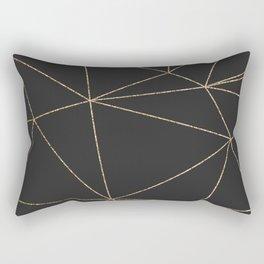 Modern abstract dark gray gold glitter geometrical Rectangular Pillow