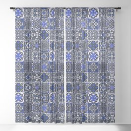 Blue Wonderful Traditional Moroccan Vintage Tiles Artwork (N26). Sheer Curtain